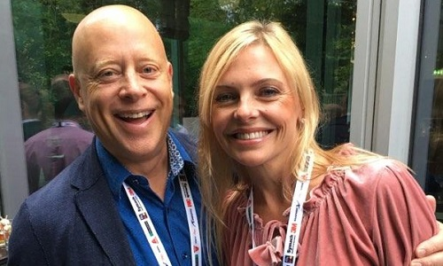 Bob and Nicole Kirstiuk of Advantage Parts Solutions celebrate the opening of the 2018 IBIS conference in Munich, Germany.