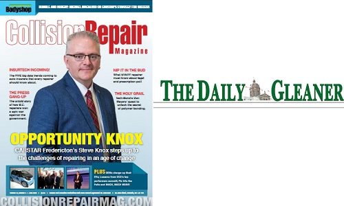 CARSTAR Fredericton GM Steve Knox's appearance on the cover of CRM was highlighted in a local newspaper.