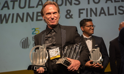 Taking home the hardware: Rob Steele at the Atlantic Region EY Entrepreneur of the Year event. Photo courtesy EY.
