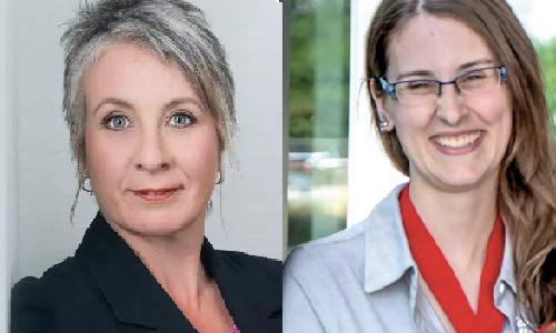 Federal Minister of Employment, Workforce Development and Labour Patty Hadju, Skills Canada's gold-medal winning auto painter Nicole Hamilton.