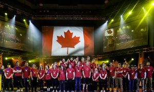 Pride and pageantry: the gold medalists during the dazzling closing ceremony of Skills Canada's 2017 in Winnipeg.